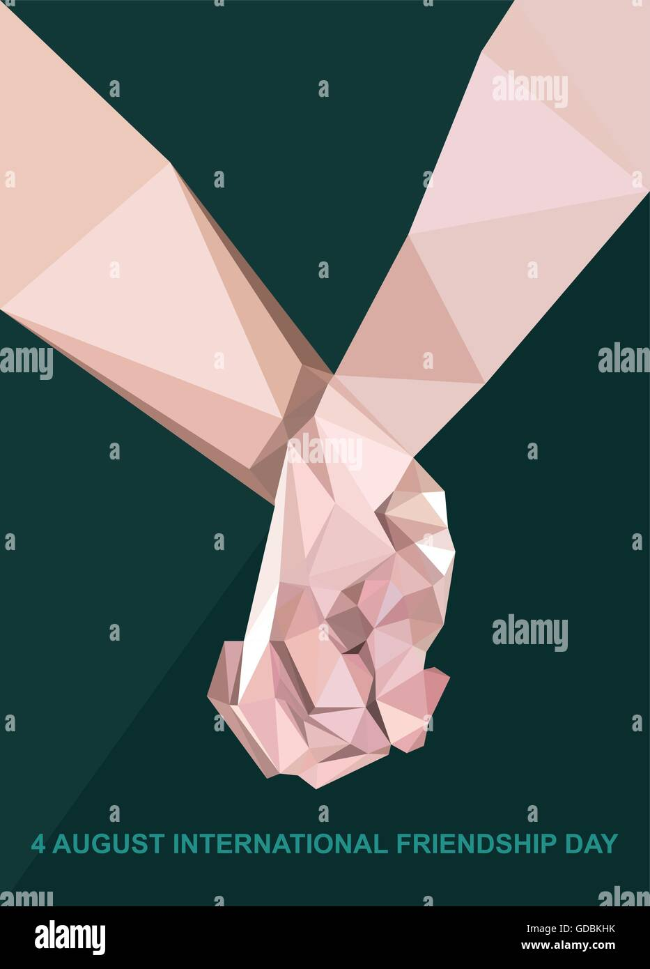 Happy Friendship Day Card 4 August Best Friends Two Shaking Hands Symbol Digital Vector Image