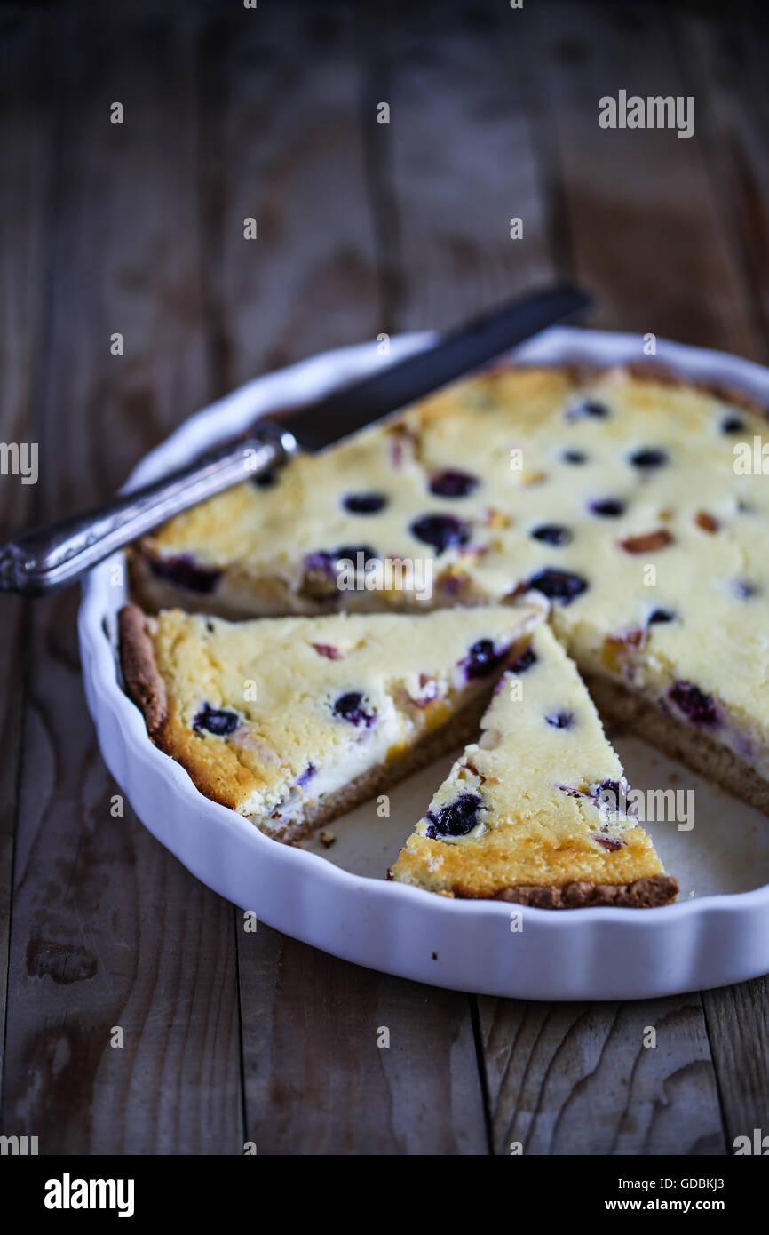 Blueberry lemon tart - Stock Image