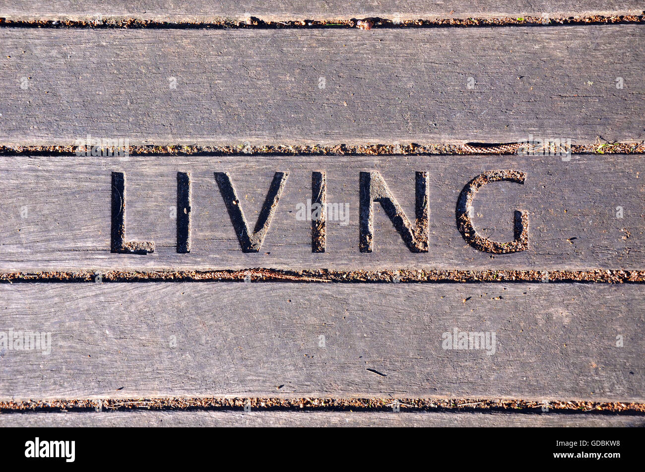 Living carved into wooden boardwalk panel. Lifestyle and living concepts. Graphic resource background. - Stock Image