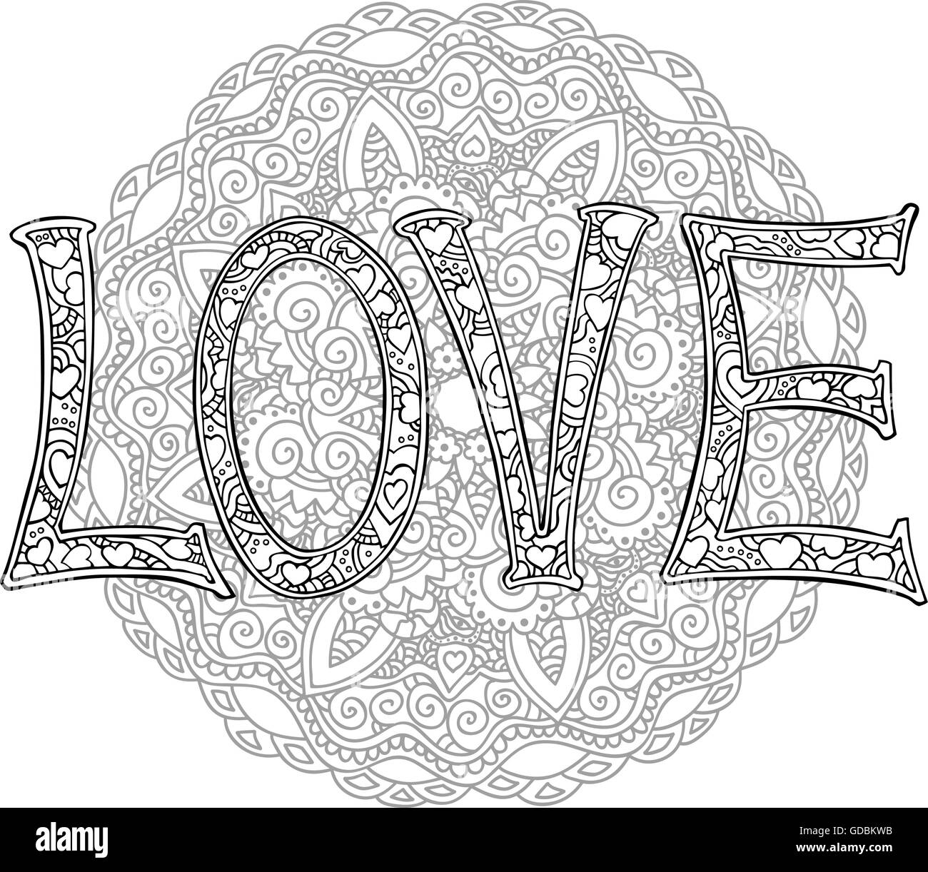 Hand Drawn Monochrome Letters Love Text With Round Mandala