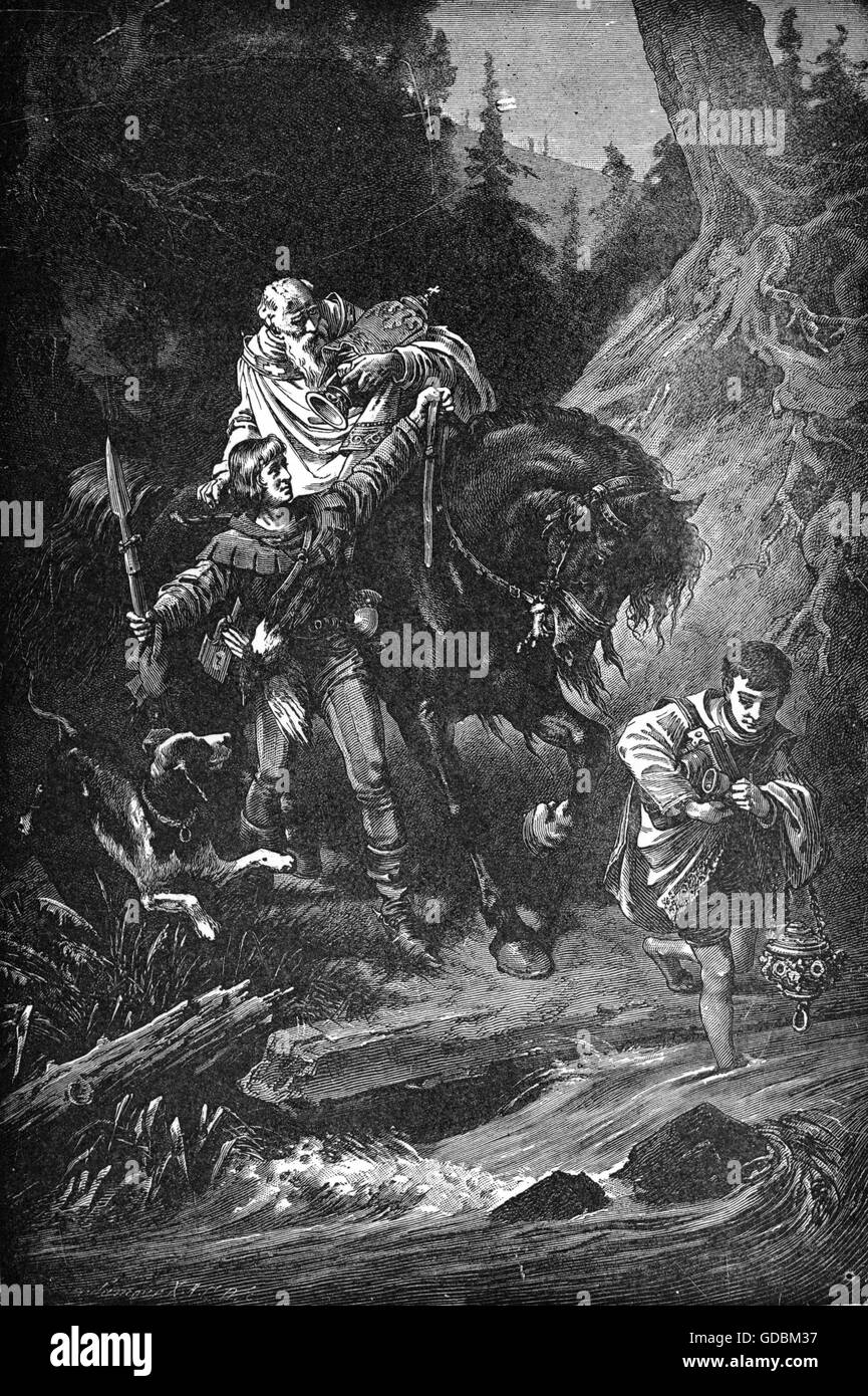 Rudolph I, German King, ballad 'The Count of Habsburg', 1803 - Stock Image