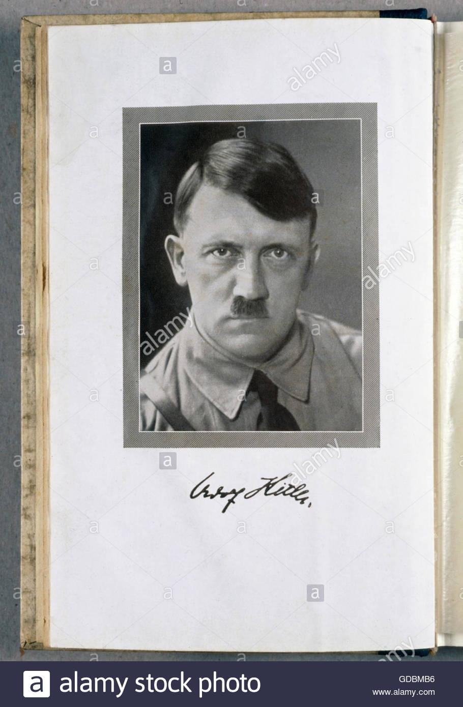 Hitler, Adolf, 20.4.1889 - 30.4.1945, German politician (NSDAP), portrait, frontispiece of his book 'Mein Kampf', - Stock Image