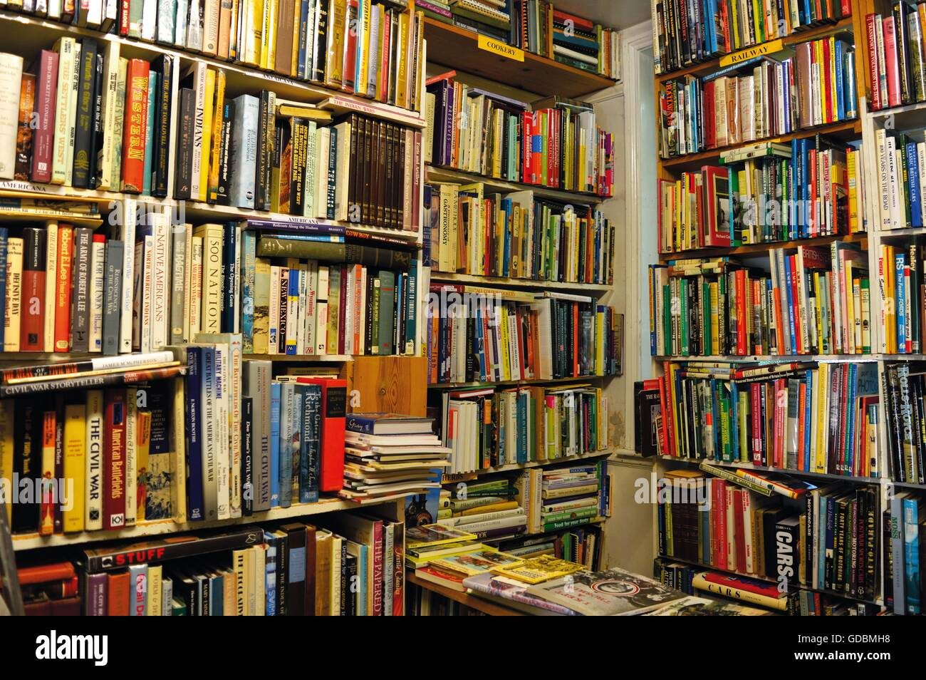 Lots of Books, Books on the Shelfs, Bookstore. - Stock Image