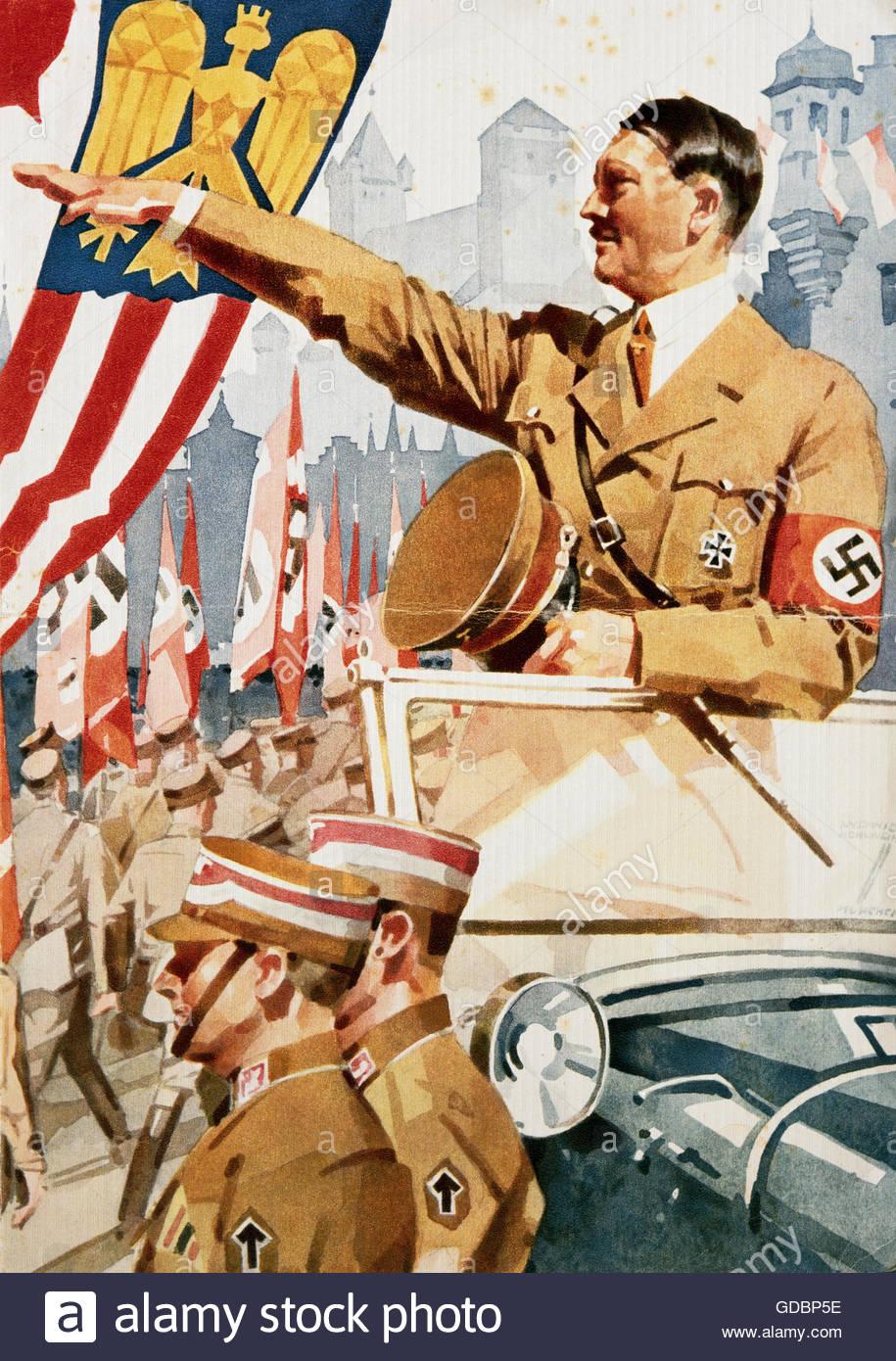 Hitler, Adolf, 20.4.1889 - 30.4.1945, German politician(NSDAP), Reich Chancellor, 30.1.1933 - 30.4.1945, saluting - Stock Image