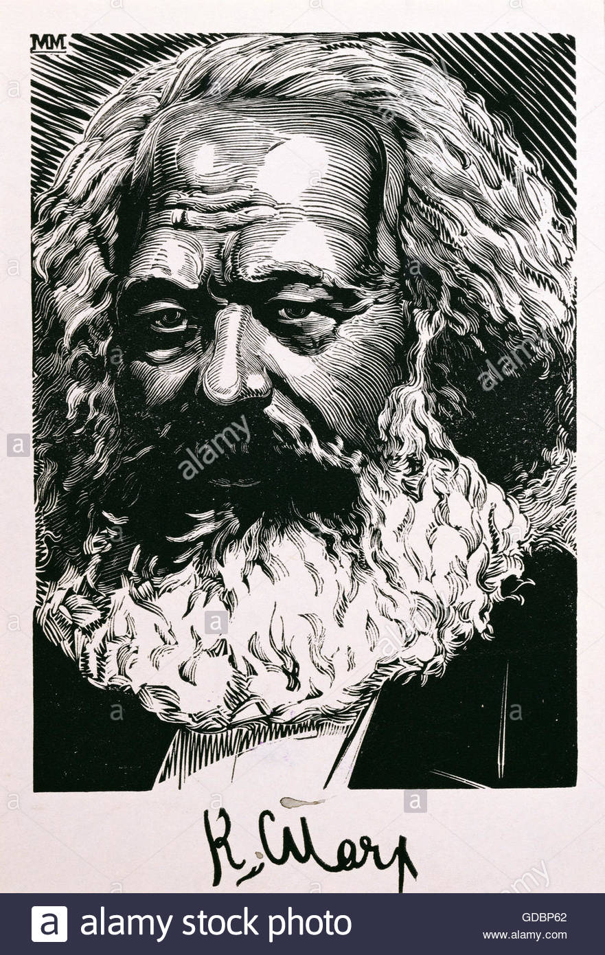 Marx, Karl, 5.5.1818 - 14.3.1883, German philosopher, graphic, woodcut, portrait, 17 cm x 10.9 cm, possibly by Michail - Stock Image