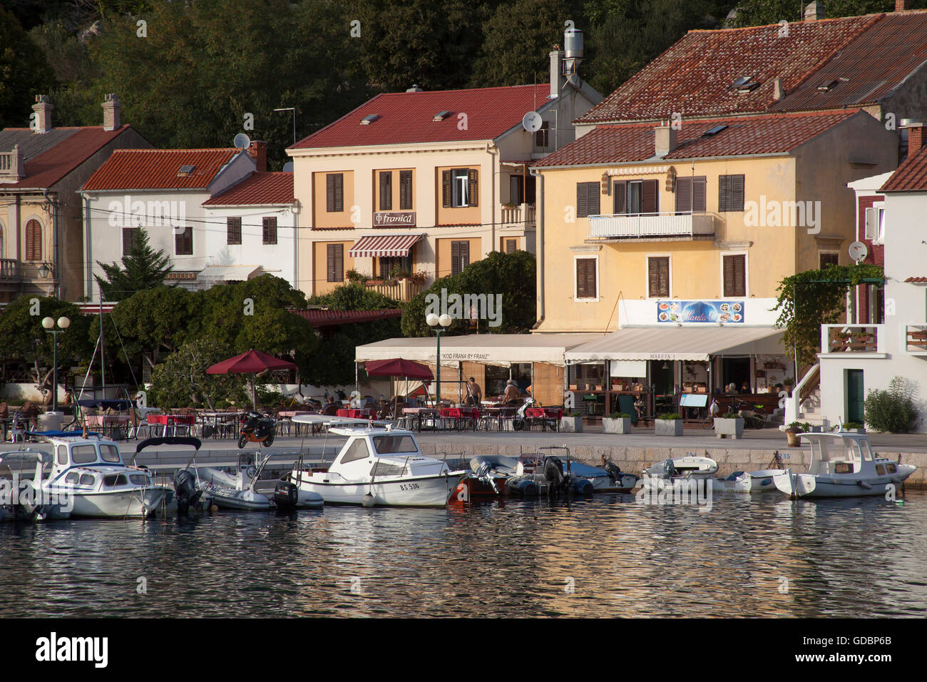 Bay and harbor of Baska, Krk, Kvarner Bay, Adriatic Sea, Croatia - Stock Image
