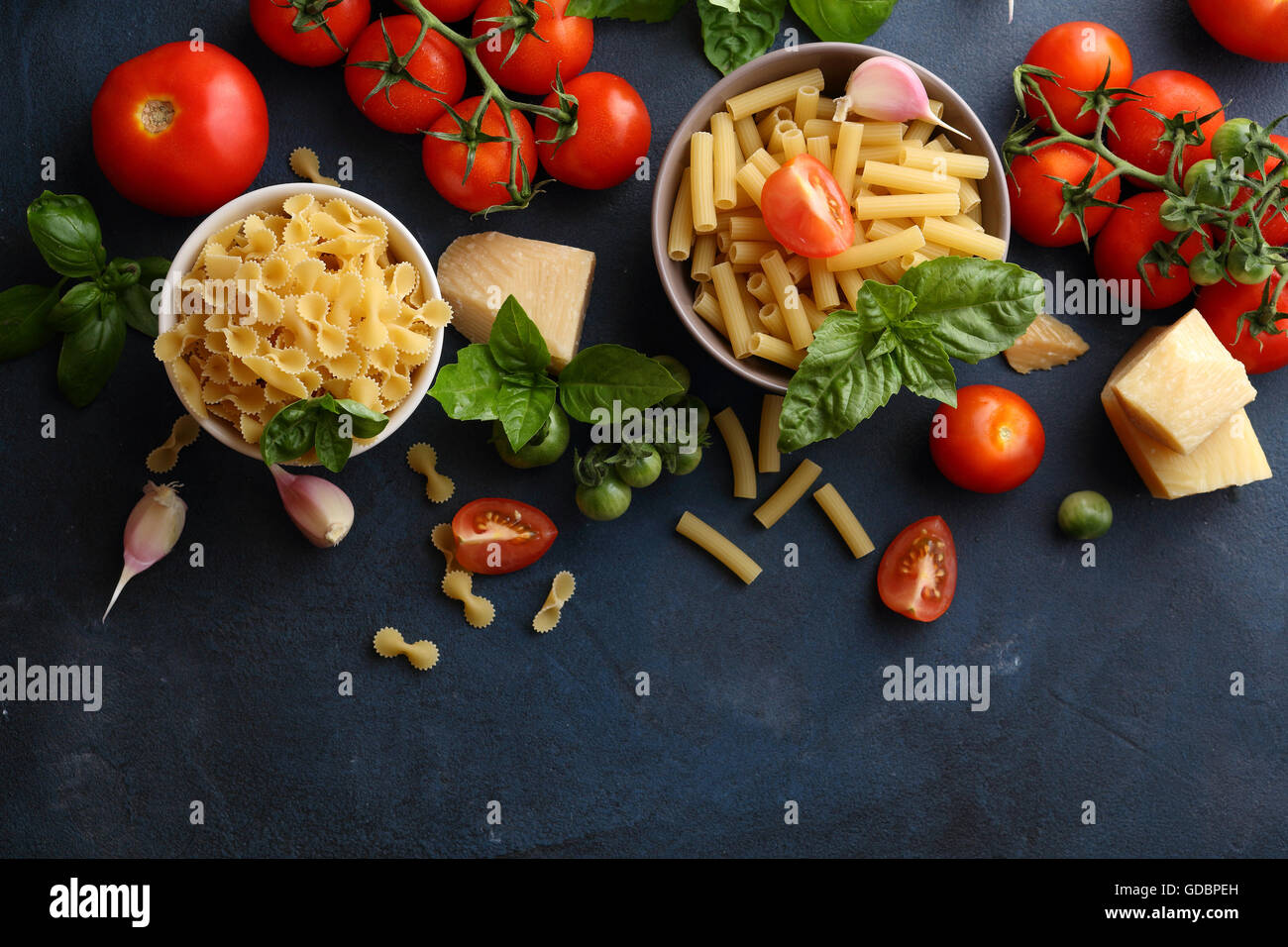 pasta and cooking ingredients, food background - Stock Image