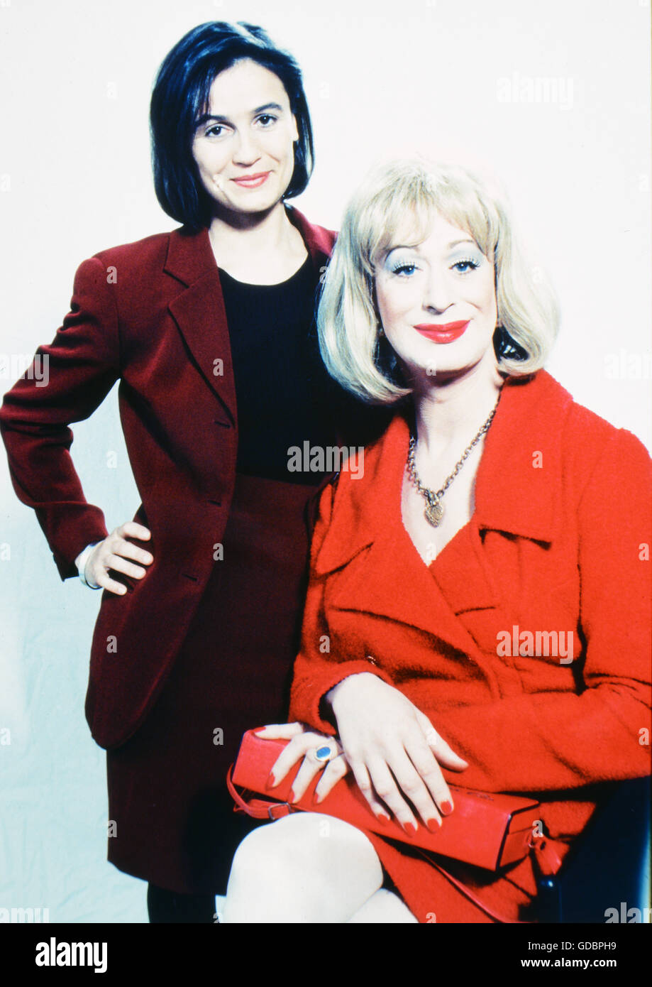 Maischberger, Sandra, * 26.8.1966, German journalist, TV presenter, half length, with Lilo Wanders, February 1996, Stock Photo
