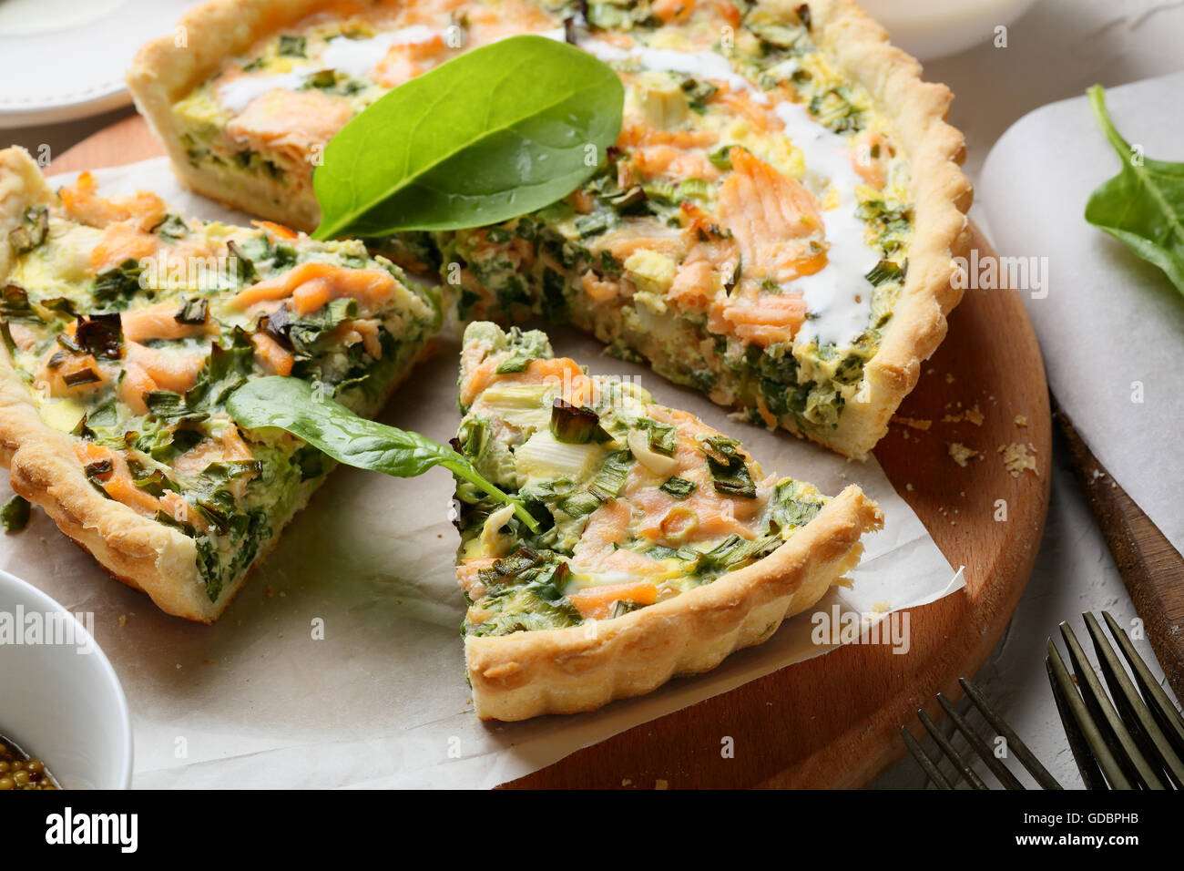 Spinach And Fish Quiche Food Close Up Stock Photo Alamy