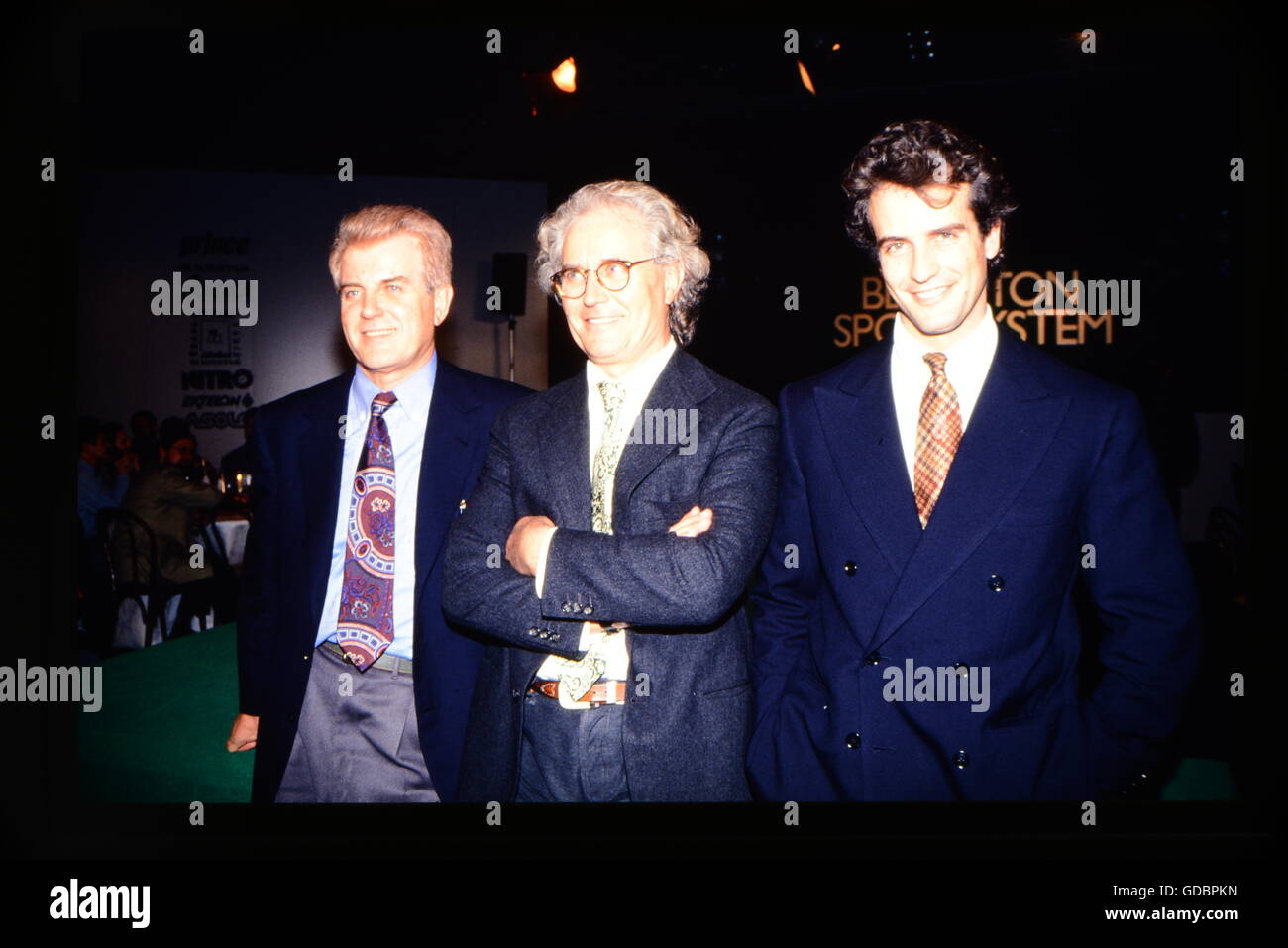 Benetton, Luciano, * 13.5.1935, Italian businessman (fashion), group picture, with Gilberto and Alessandro Benetton, - Stock Image