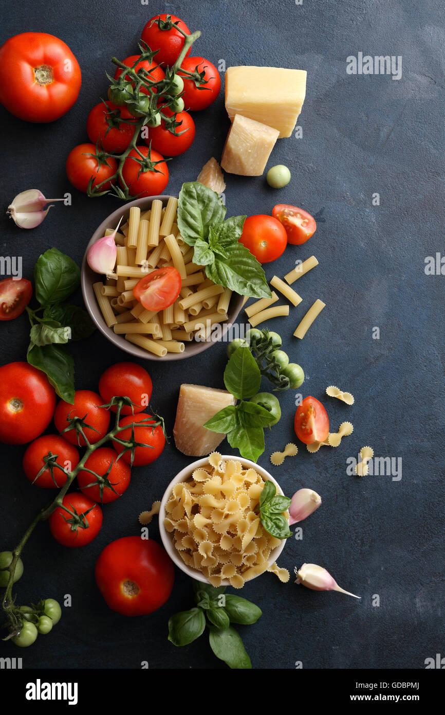 raw italian pasta, food background Stock Photo