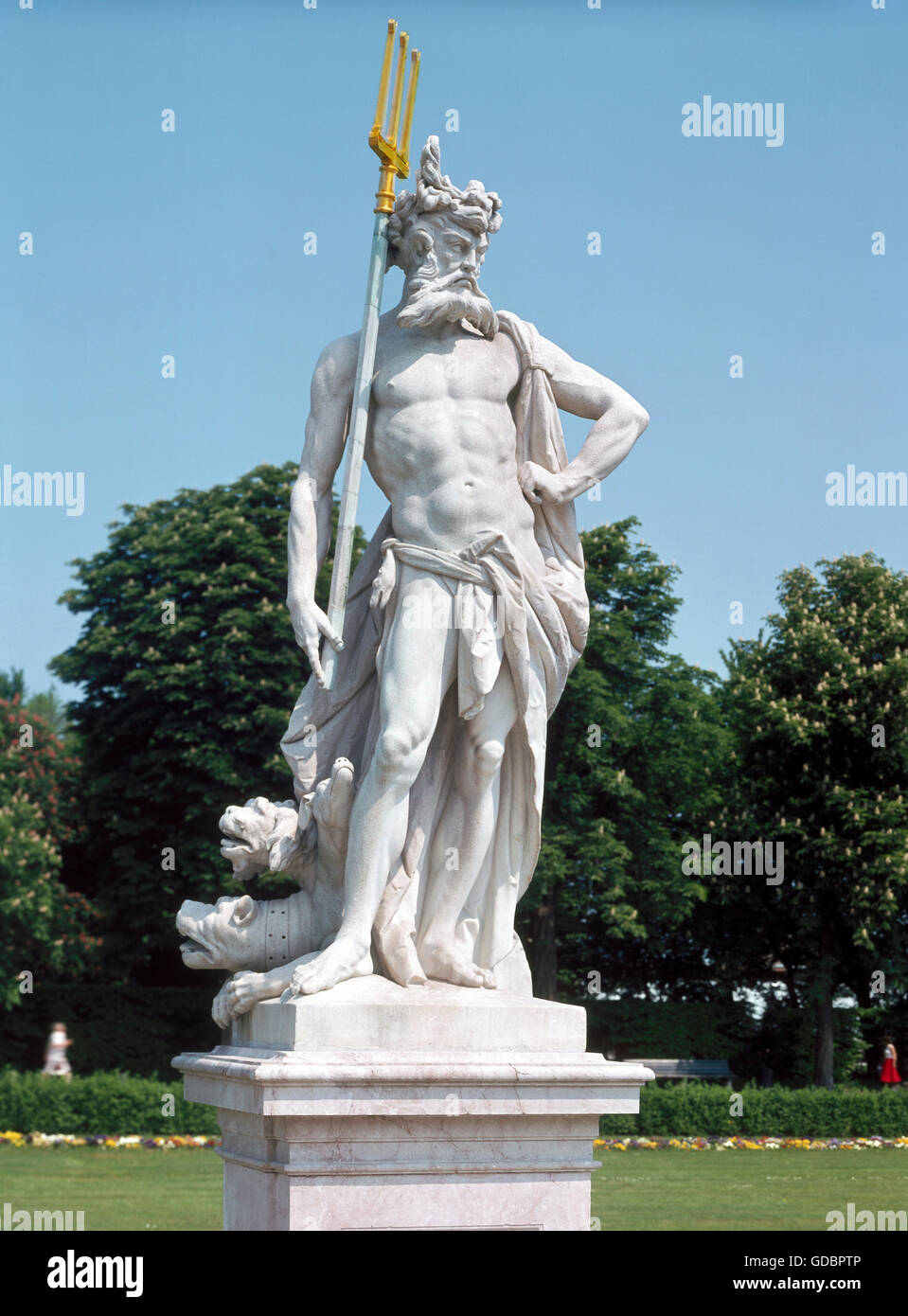 Pluto, Greek god, full length, with cerberus, sculpture, marble, middle of the 18th century, Nymphenburg castle - Stock Image