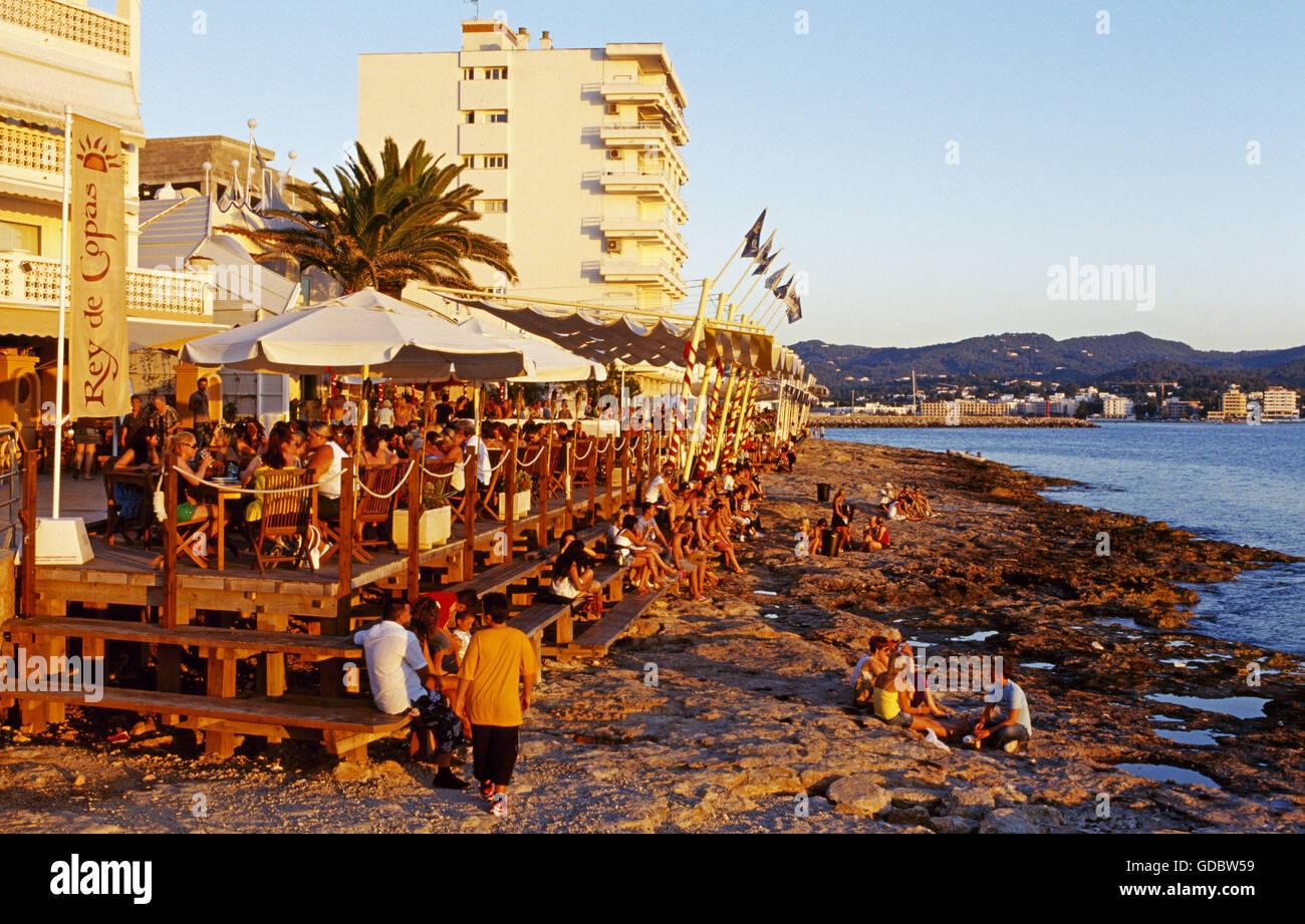 Cafe del Mar in San Antonio, Ibiza, Balearic Islands, Spain - Stock Image
