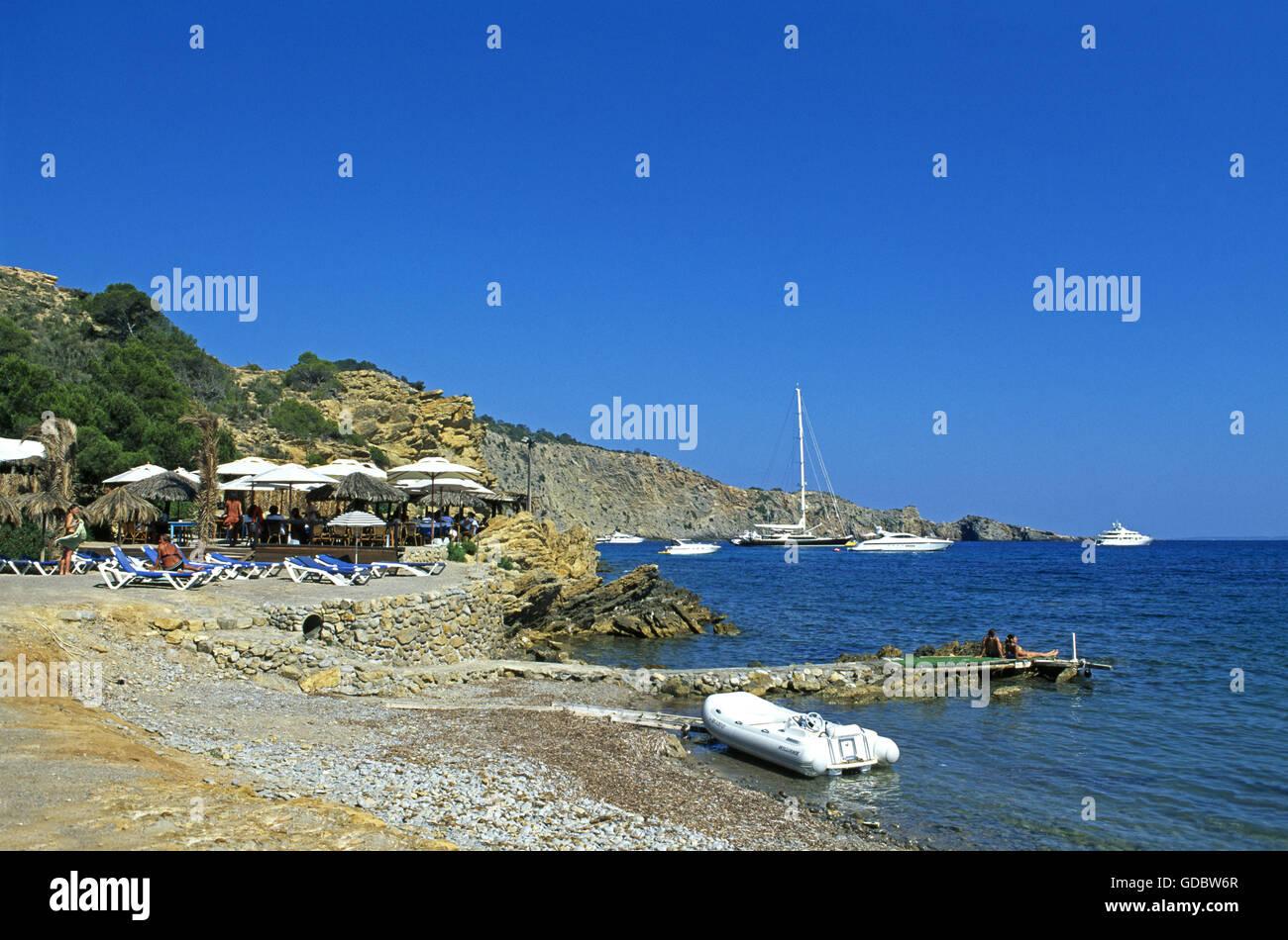 Beach nearby Sa Caleta, Ibiza, Balearic Islands, Spain - Stock Image
