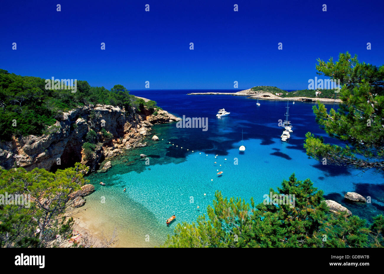 Bay nearby Portinatx, Ibiza, Balearic Islands, Spain - Stock Image