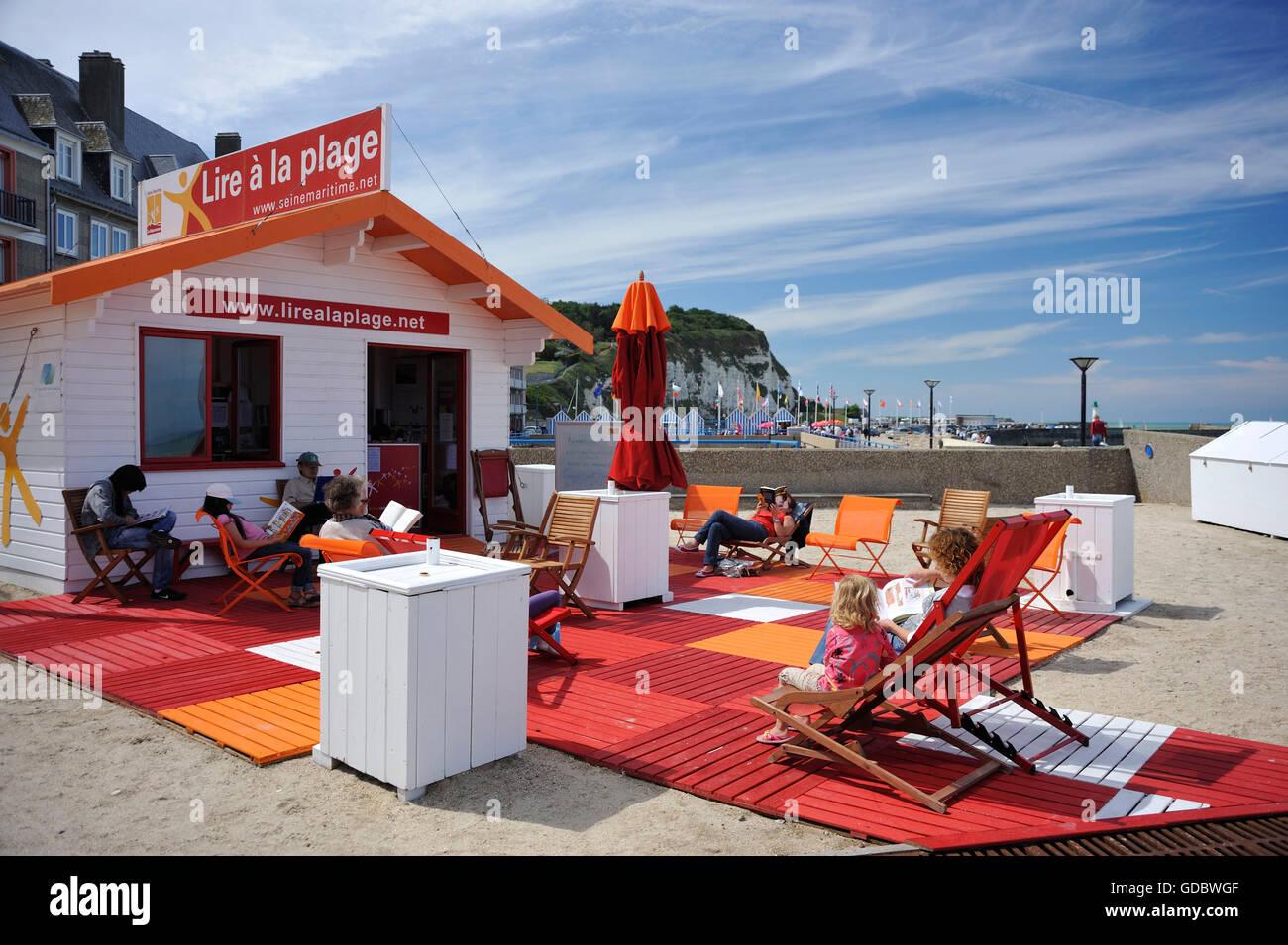 Beach, St-Valery-en-Caux, Normandy, France - Stock Image