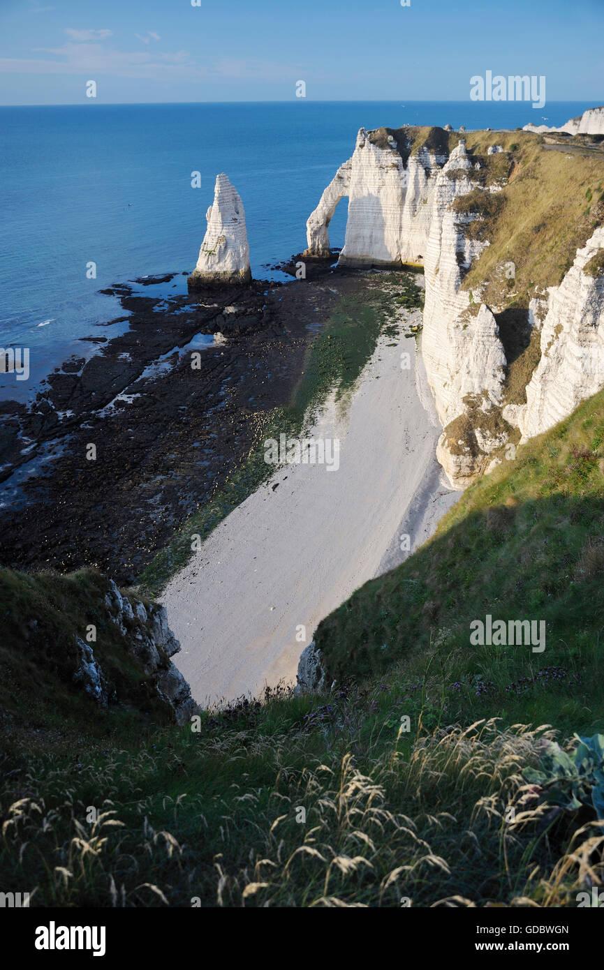 Falaise d'Amont, rocky coast, Etretat, Normandy, France Stock Photo