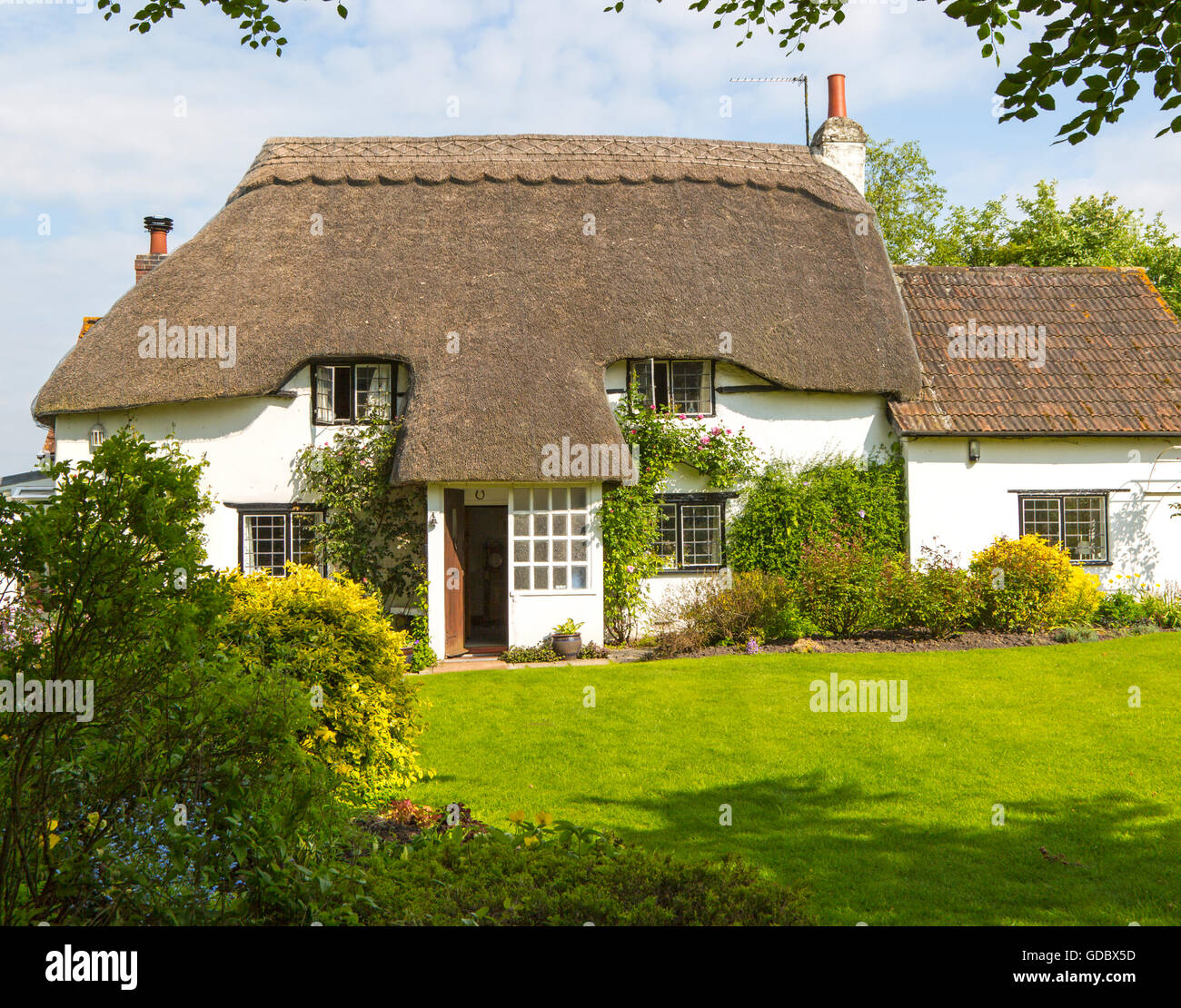 Property Released pretty historic thatched cottage and garden, Cherhill, Wiltshire, England, UK - Stock Image