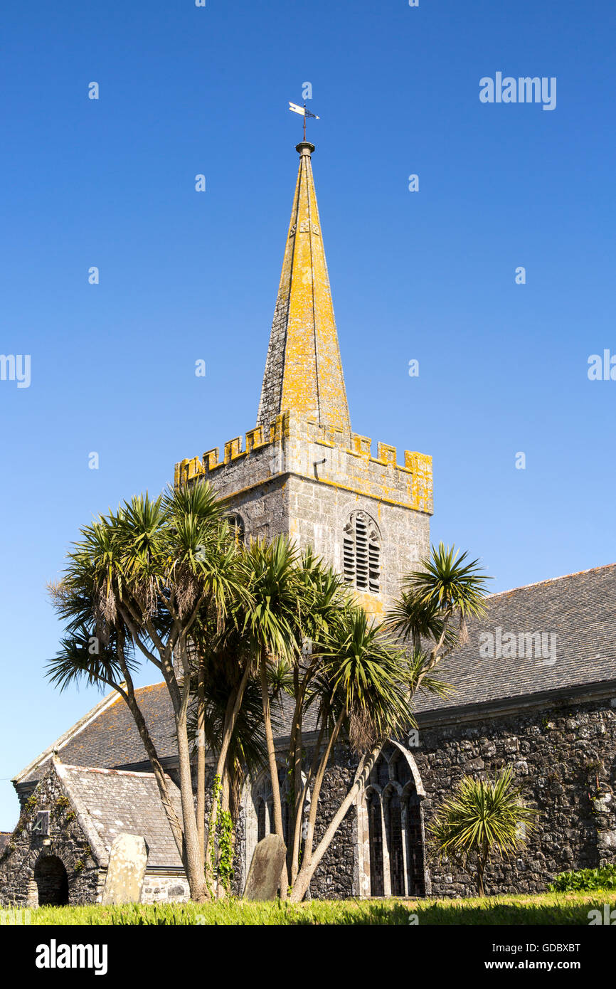 Spire of village parish church at St Keverne, Lizard Peninsula, Cornwall, England, UK - Stock Image