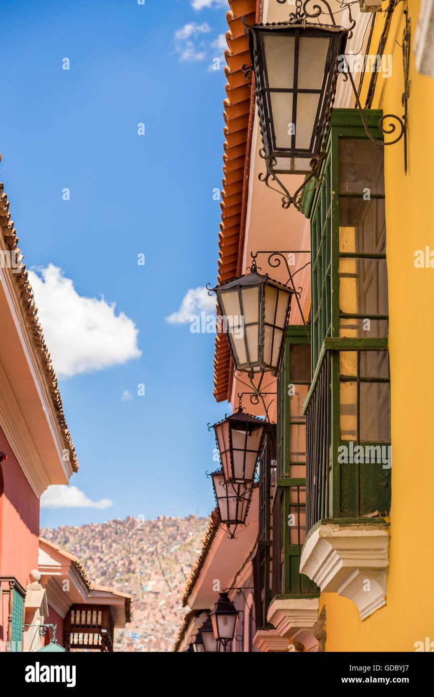 Jaen street lights at LaPaz, Bolivia, South America, May 2016 - Stock Image