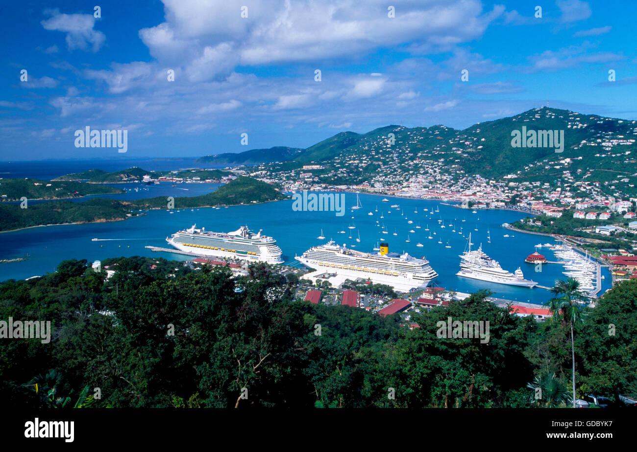 cruise liners in charlotte amalie on st thomas island us virgin