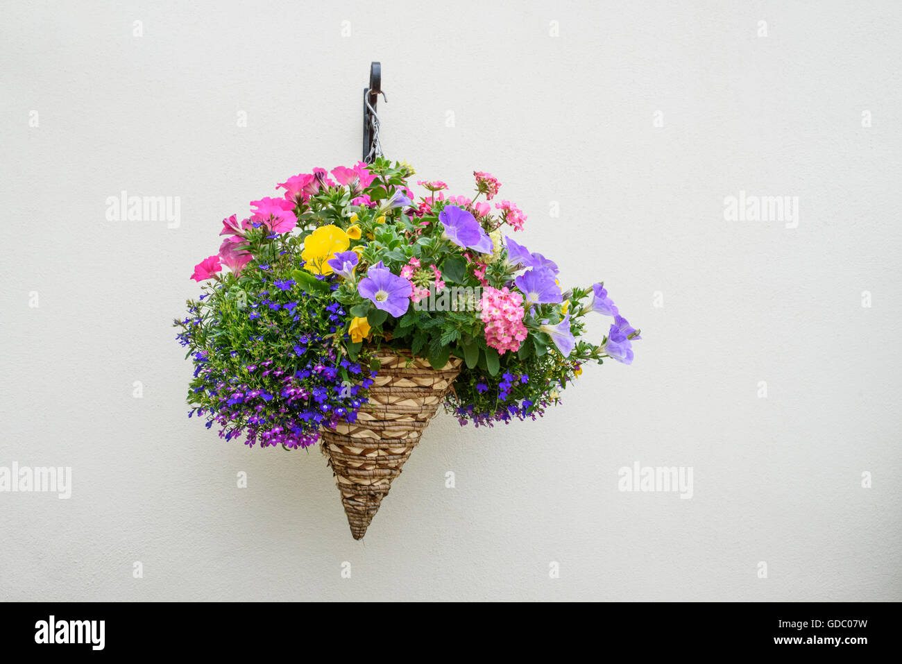 Colourful hanging conical shaped wicker flower basket on a cream coloured wall - Stock Image