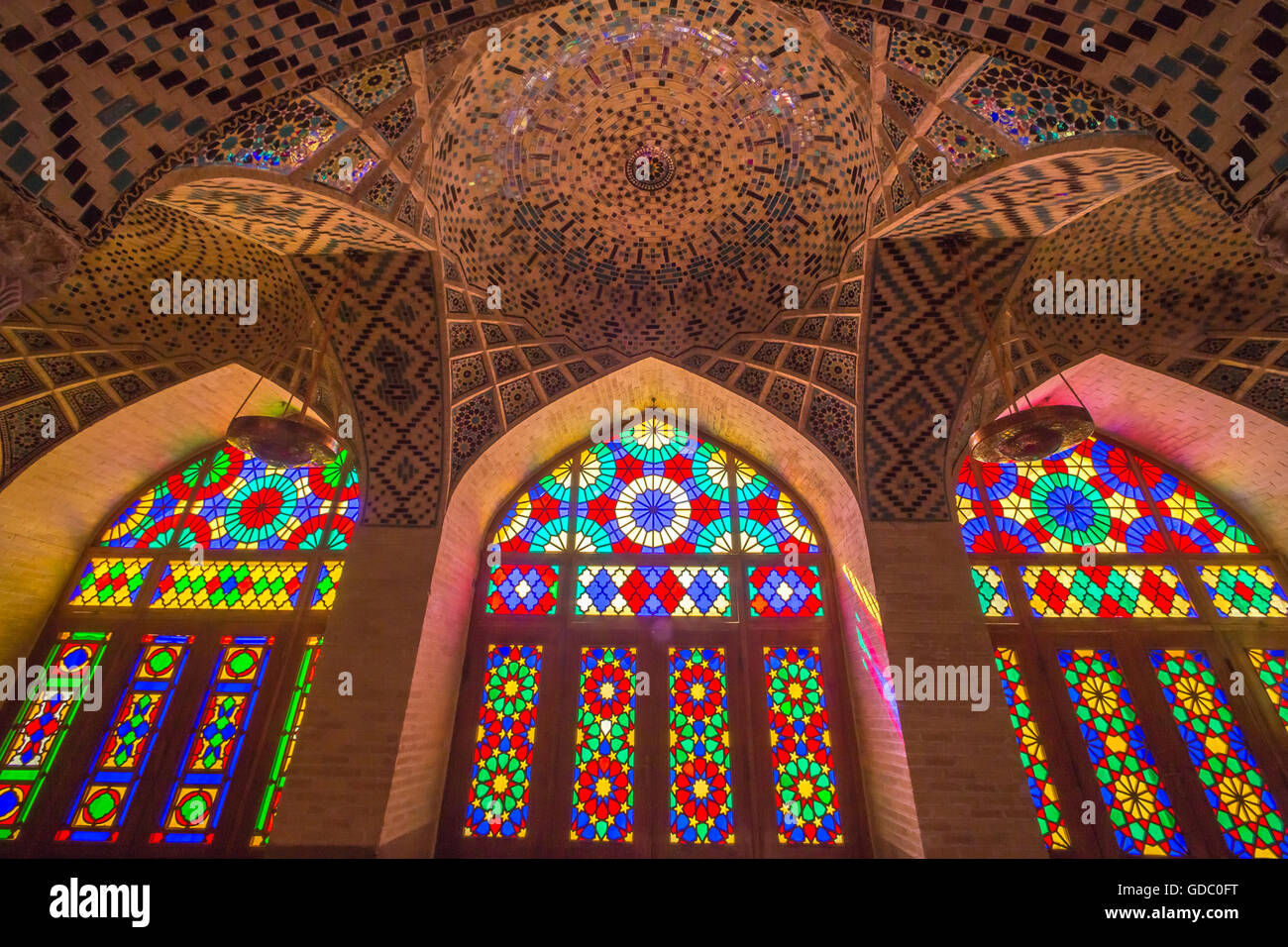 nasir al-molk mosque in shiraz city - Stock Image