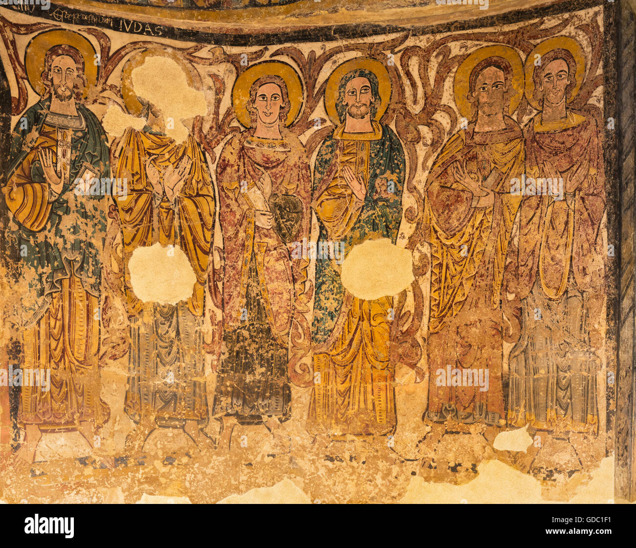 Jaca, Huesca Province, Aragon, Spain.  Diocesan Museum of Jaca (Museo Diocesano de Jaca). Detail of the apostles. - Stock Image