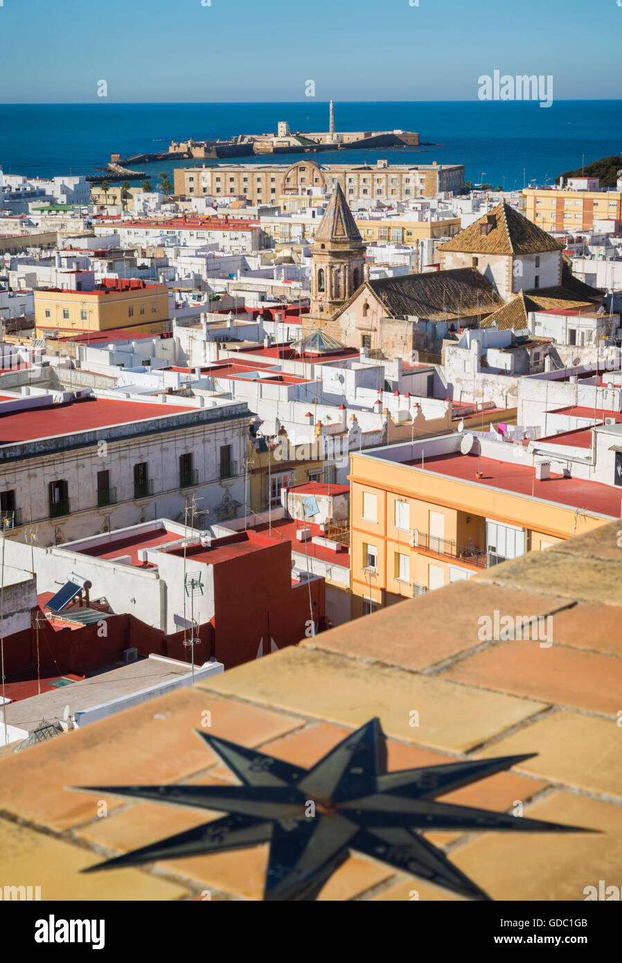 Cadiz, Costa de la Luz, Cadiz Province, Andalusia, southern Spain. View across old city rooftops - Stock Image