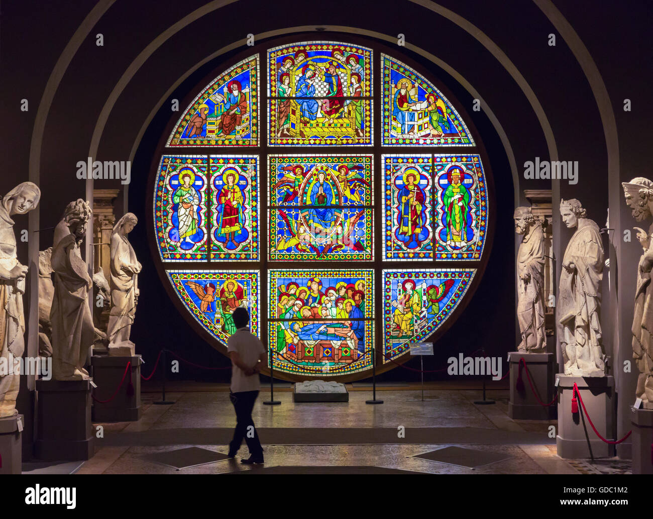 Siena, Siena Province, Tuscany, Italy.  Il Museo dell'Opera del Duomo. Cathedral Museum. Stained glass window. Stock Photo