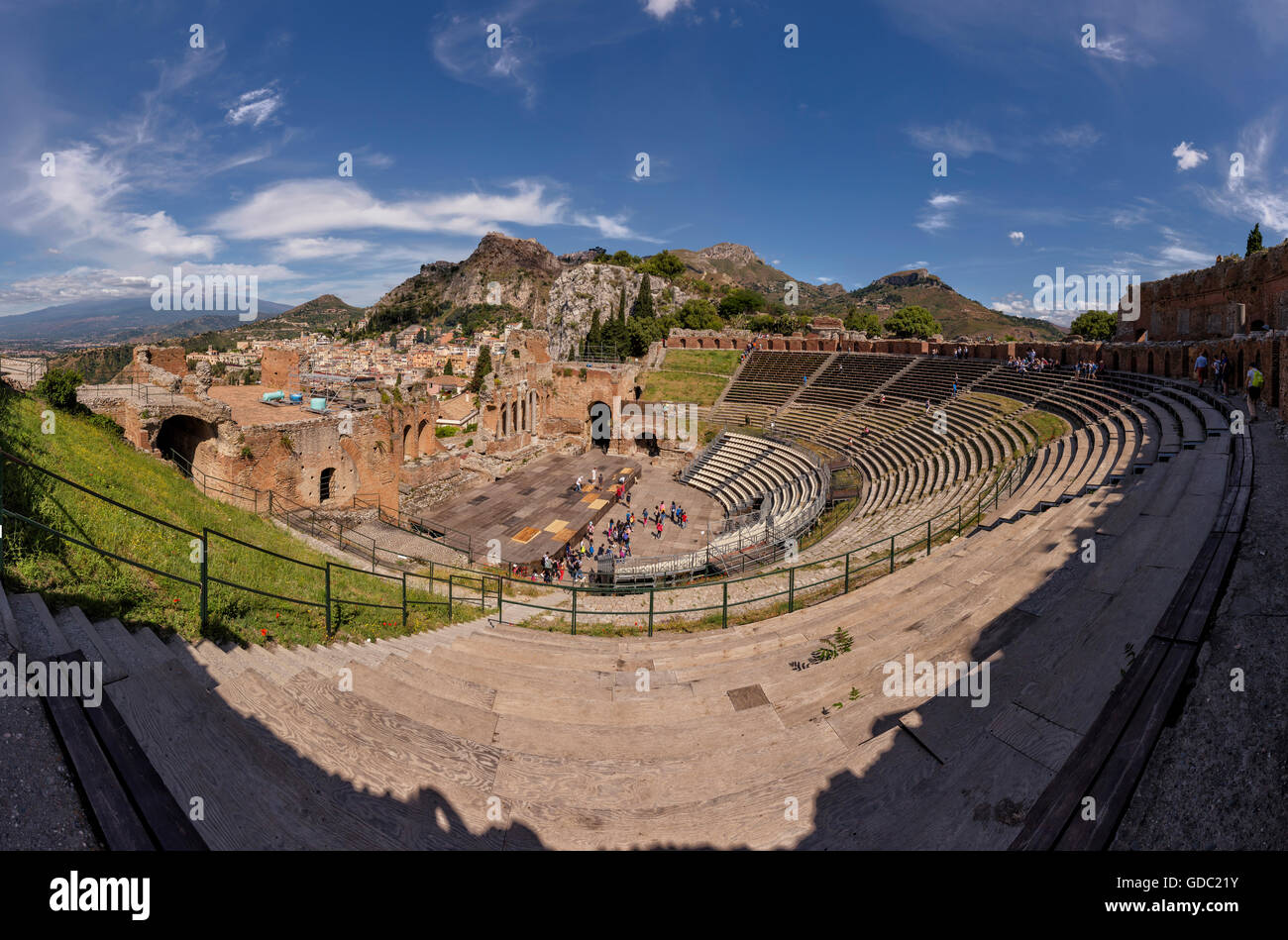 Ancient Greek theatre with a view towards Mount Etna - Stock Image