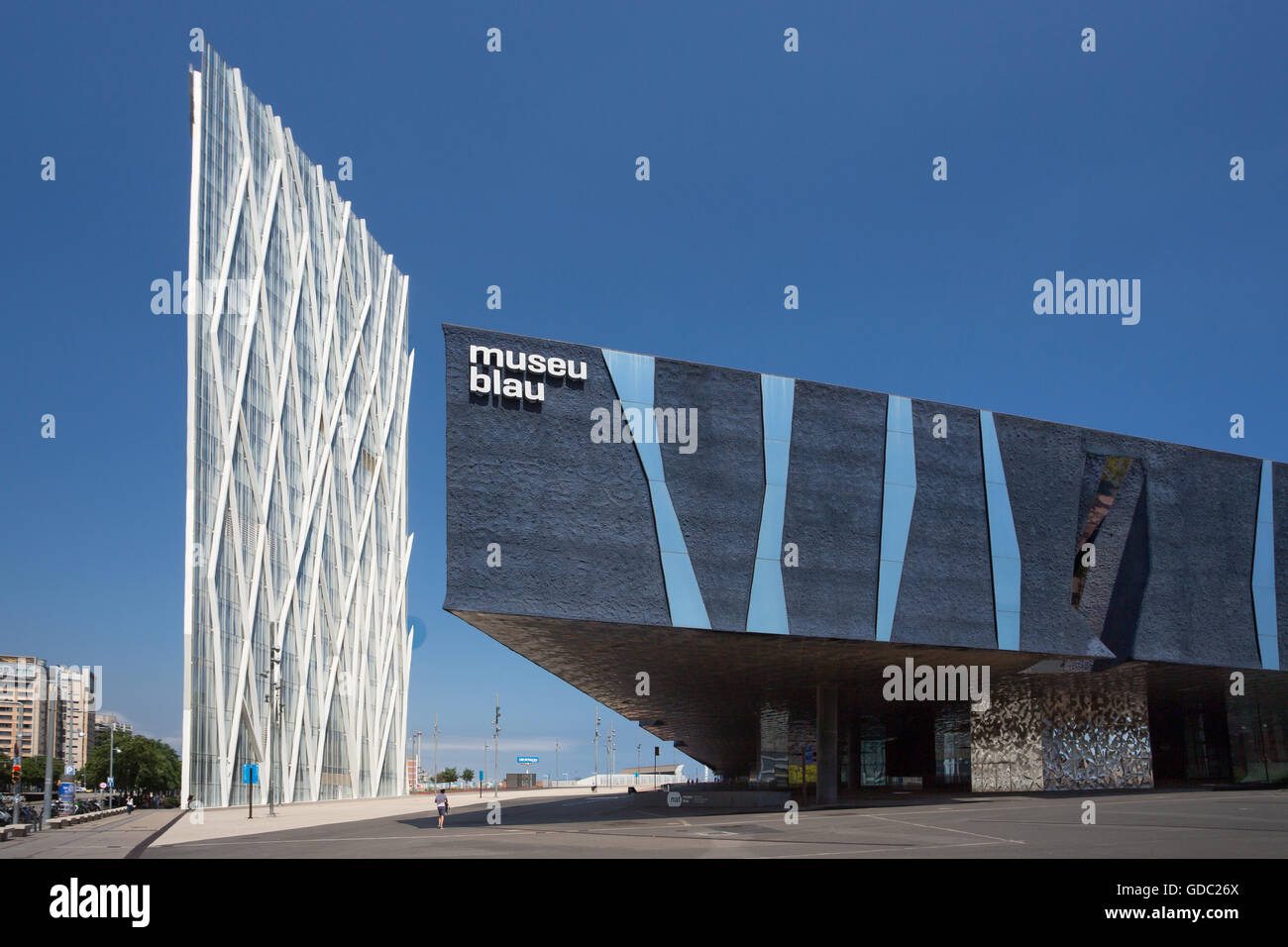 Spain,Catalonia,Barcelona City,Forum Building and Telefonica tower - Stock Image
