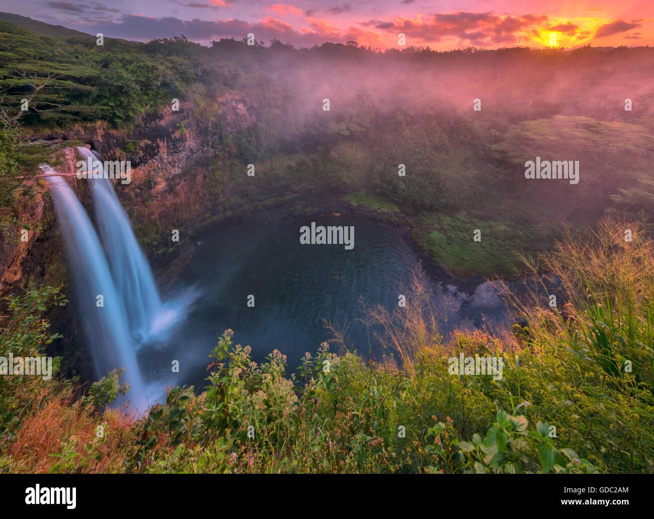 USA,Vereinigte Staaten,Amerika,Hawaii,Kauai,Lihue,Wailua Falls - Stock Image