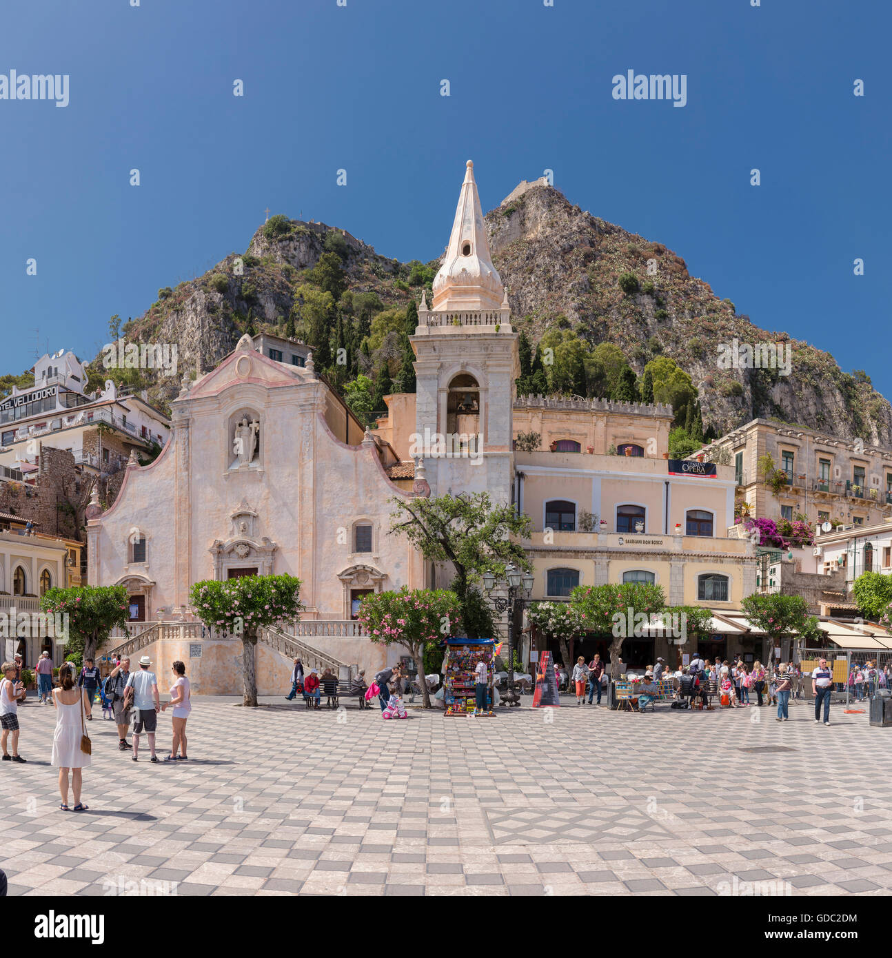 Central square,Chiesa di San Giuseppe,Castello,church, - Stock Image