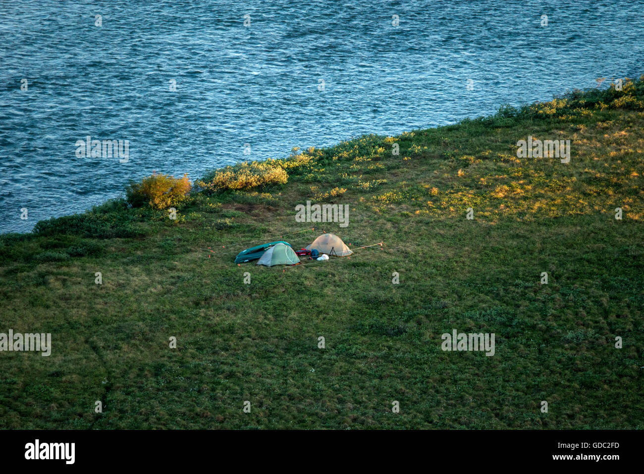 campsite,national petroleum reserve,Alaska,USA,tents - Stock Image