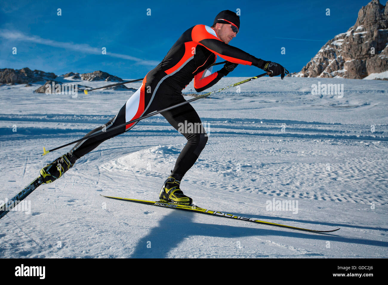 Cross-country skiing,Skating,dynamical,sport,Austria,Dachstein,ski,sport man, - Stock Image