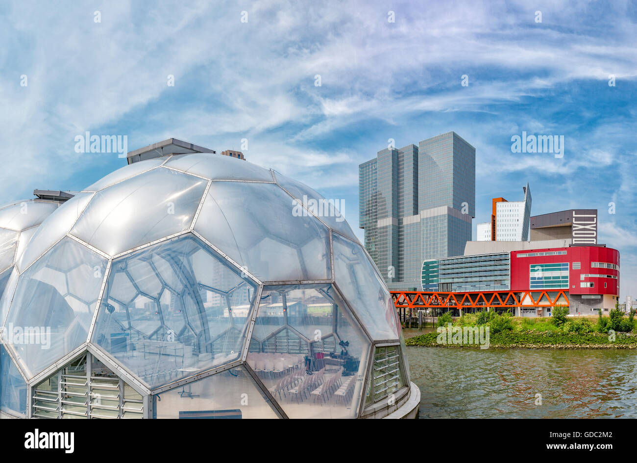 Rotterdam,Modern high-rise office buildings and the Floating Pavilion - Stock Image