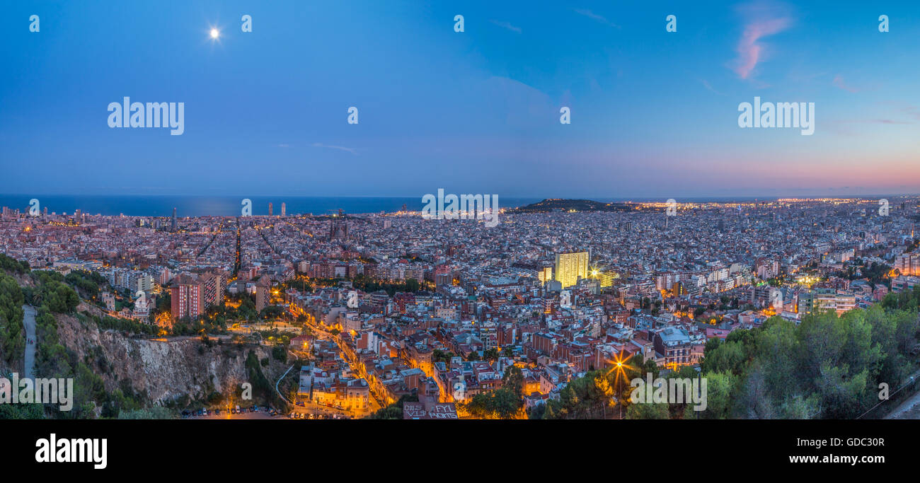 Spain,Catalonia,Barcelona City,sunset panorama - Stock Image