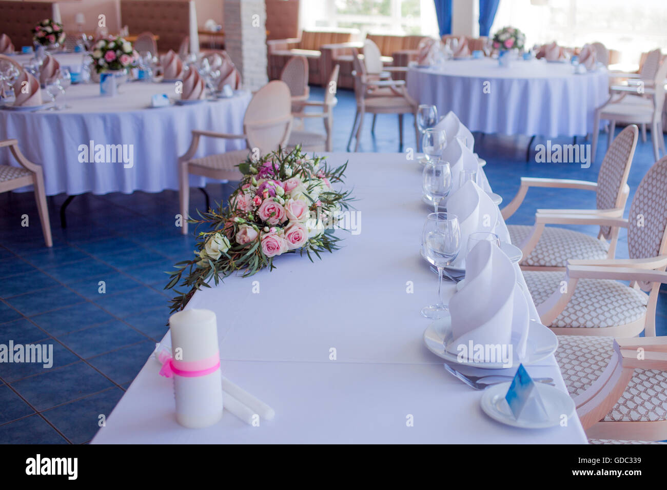 Wedding Banquet Small Restaurant In A Maritime Style Round Tables Stock Photo Alamy