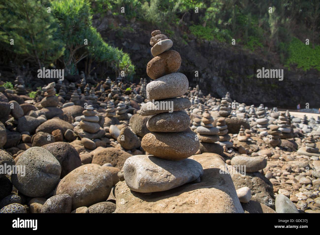 Kauai,Hanakapiai,Well Pali,Trail,cairn,Kauai,USA,Hawaii,America, - Stock Image