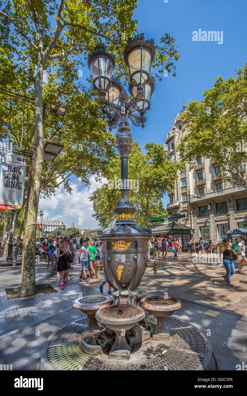 Spain,Catalonia,Barcelona City,Ramblas Avenue,Canaletas Fountain - Stock Image