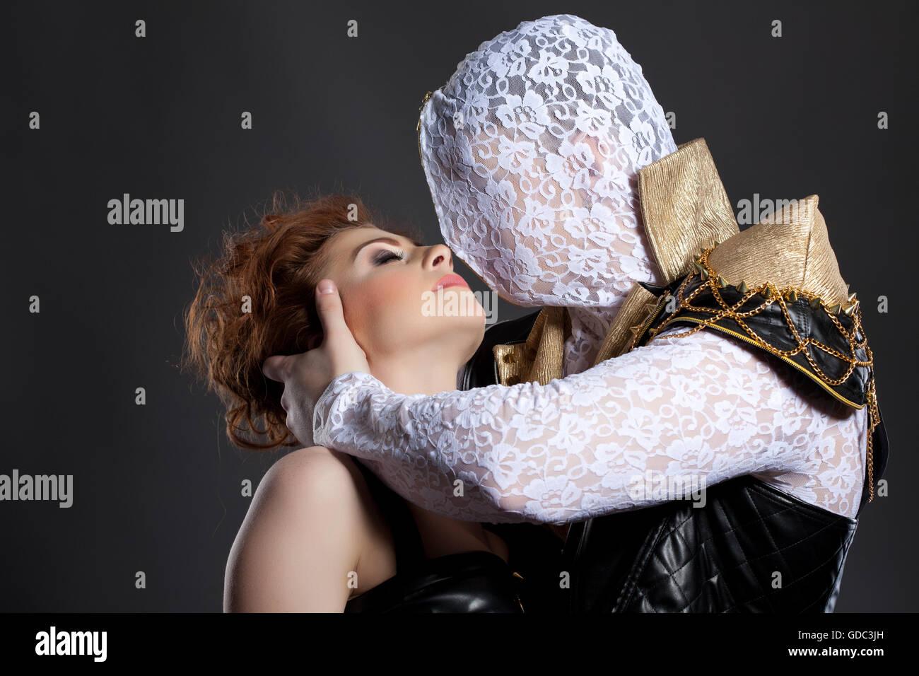 Mature redhead kissing