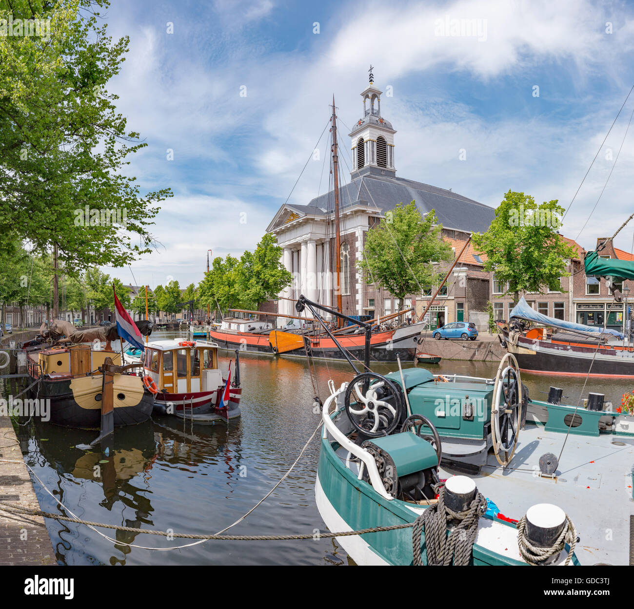 Schiedam,Moored ships at the canal called Lange Haven Stock Photo