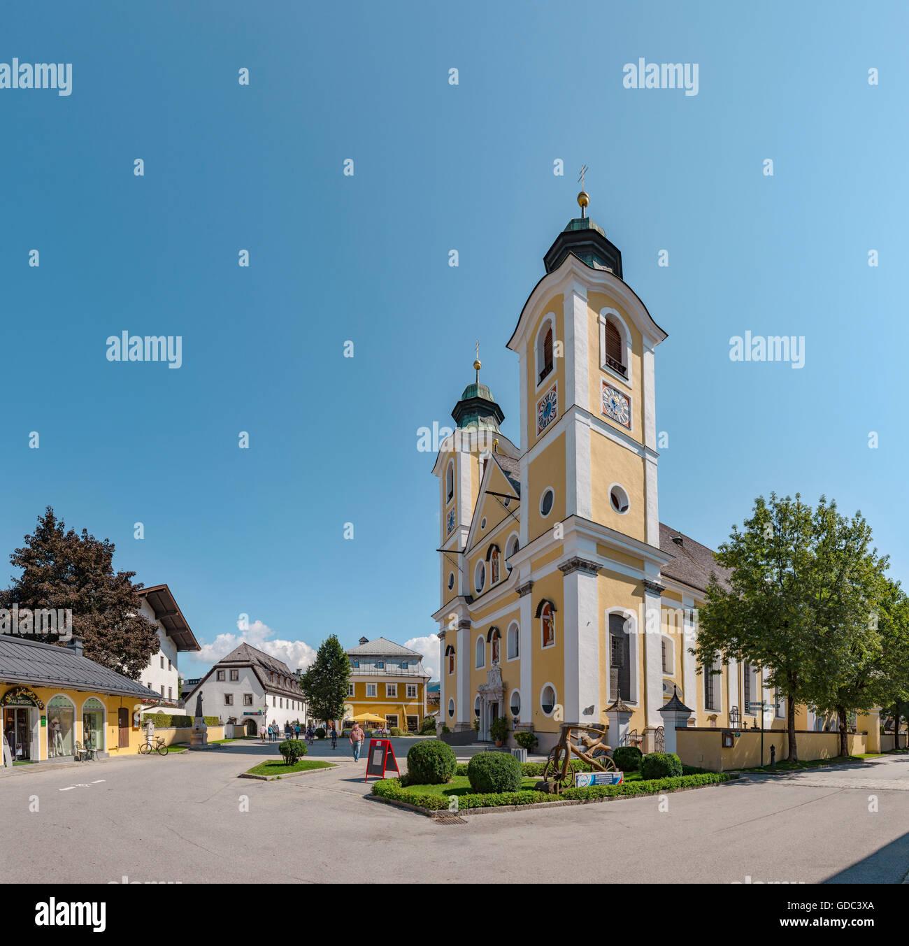 St. Johann in Tirol,Austria,The Dekanatspfarr church at the Hauptplatz - Stock Image
