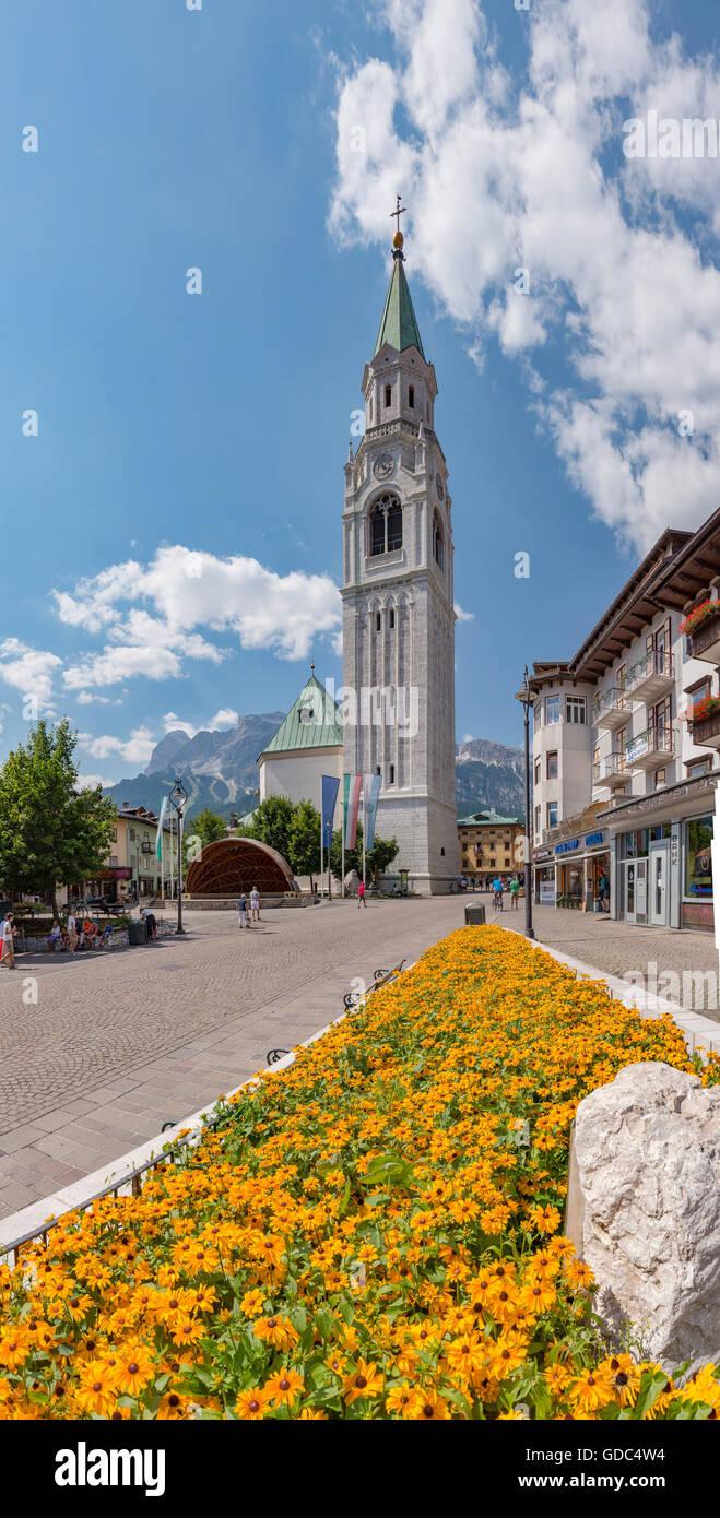 Cortina d'Ampezzo,Italia,Corso Italia with the campanile - Stock Image