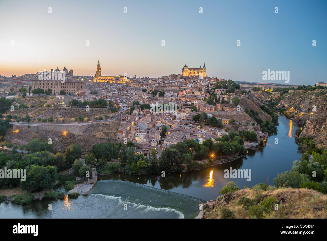 Spain,Toledo City,Tajo river,skyline, - Stock Image