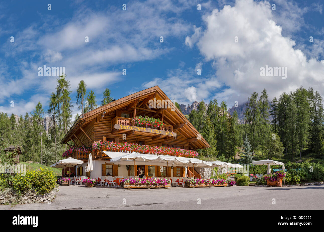 Cortina d'Ampezzo,Italia,Restaurant Lago Scin - Stock Image