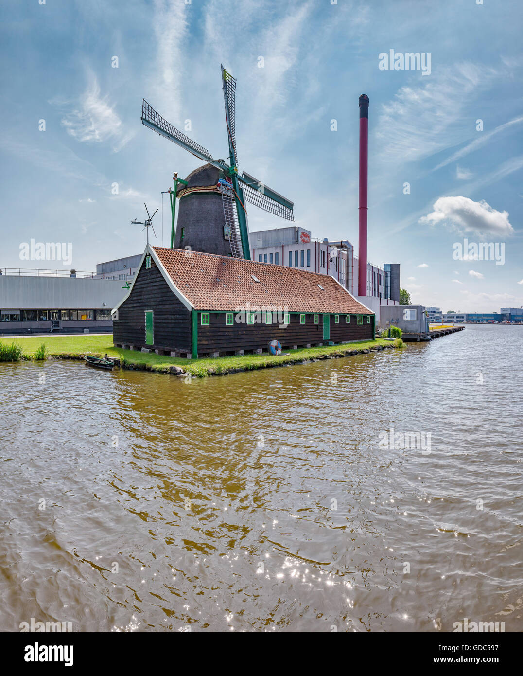 Zaandam,Noord-Holland,Windmill the Stork at a factory site - Stock Image