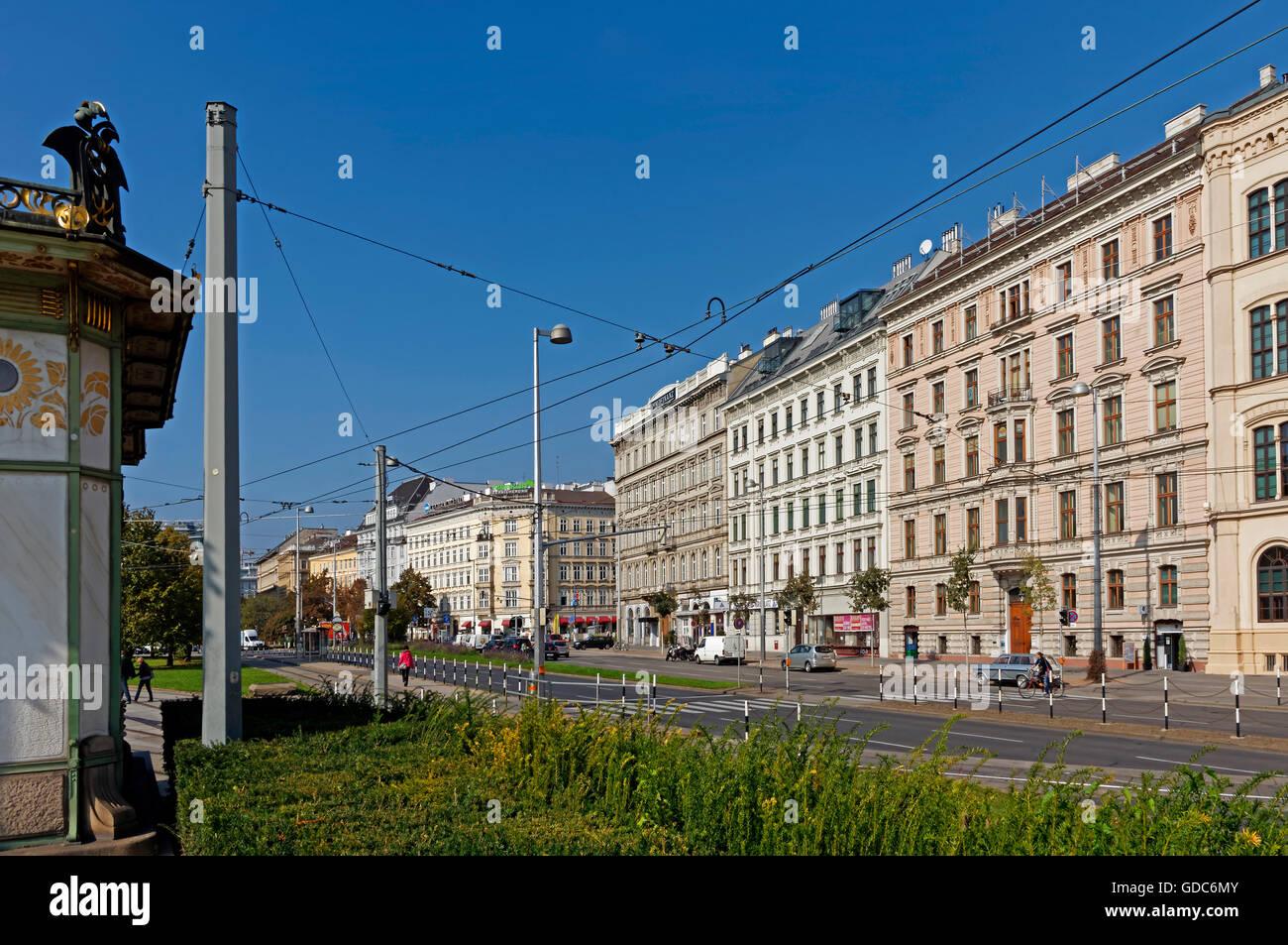 houses,Otto Wagner's pavilion,subway station,Karlsplatz, - Stock Image