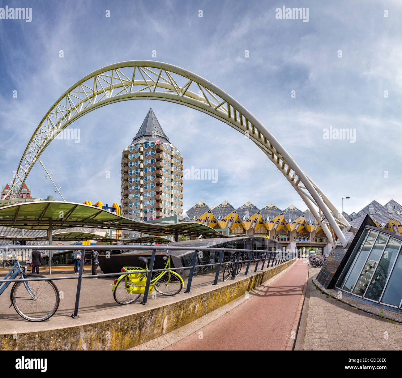 Rotterdam,Cube houses an railway station Blaak - Stock Image